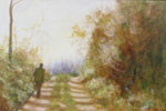 Painting of Man walking alone in Tuscany